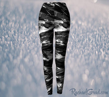 Load image into Gallery viewer, Black and White Leggings Pants by Toronto Artist Rachael Grad, elastic waist front