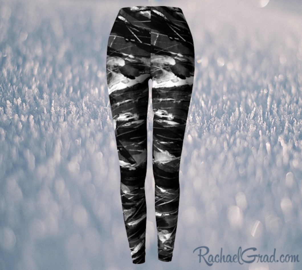 Black and White Leggings Pants by Toronto Artist Rachael Grad, elastic waist front