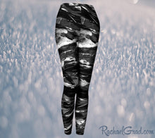 Load image into Gallery viewer, Black and White Leggings Pants by Toronto Artist Rachael Grad, elastic waist front view