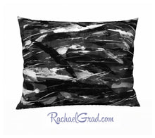 Load image into Gallery viewer, Black White Art Pillow, 26 x 20 Pillowcase Toronto Artist Rachael Grad back