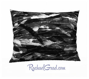 Black White Art Pillow, 26 x 20 Pillowcase Toronto Artist Rachael Grad back