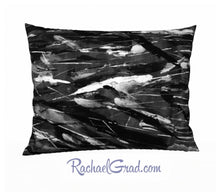 Load image into Gallery viewer, Black White Art Pillow, 26 x 20 Pillowcase Toronto Artist Rachael Grad front