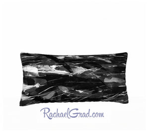 Pillowcase Black and White Brushstrokes 24 x 12 pillow by Rachael Grad back