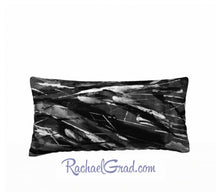 Load image into Gallery viewer, Pillowcase Black and White Brushstrokes 24 x 12 pillow by Rachael Grad front