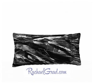 Pillowcase Black and White Brushstrokes 24 x 12 pillow by Rachael Grad front