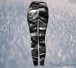 Women's Yoga Leggings - Black, White-Yoga Leggings-Canadian Artist Rachael Grad