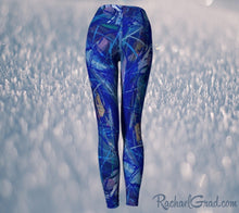 Load image into Gallery viewer, Blue Abstract Art Women's Yoga Leggings by Canadian Artist Rachael Grad back view