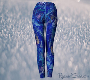 Blue Abstract Art Women's Yoga Leggings by Canadian Artist Rachael Grad back view