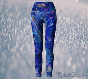 Blue Abstract Art Women's Yoga Leggings by Toronto Artist Rachael Grad