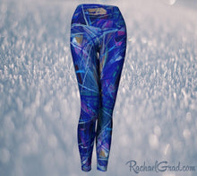 Load image into Gallery viewer, Blue Abstract Art Women's Yoga Leggings by Canadian Artist Rachael Grad front view