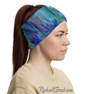 Blue Green Face Mask as Head Bandana by Artist Rachael Grad side view