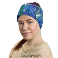 Load image into Gallery viewer, Blue Green Face Mask as Head Bandana by Artist Rachael Grad
