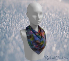 "Load image into Gallery viewer, Blue Purple Artist Scarf by Toronto Artist Rachael Grad in 26"" x 26"""