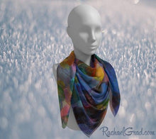 "Load image into Gallery viewer, Blue Purple Artist Scarf by Toronto Artist Rachael Grad in 50"" x 50"""