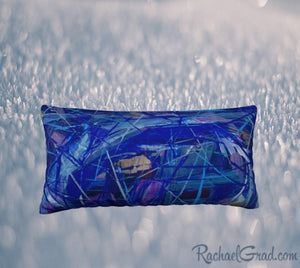 Blue Abstract Pillowcase 24 x 12 pillow by Toronto Artist Rachael Grad front