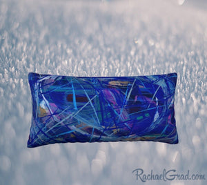 Blue Abstract Pillowcase 24 x 12 pillow by Toronto Artist Rachael Grad back