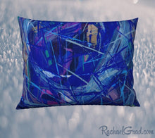 Load image into Gallery viewer, Pillowcase 26 x 20 Blue Abstract Art by Toronto Artist Rachael Grad back