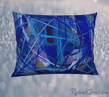 Load image into Gallery viewer, Pillowcase 26 x 20 Blue Abstract Art by Toronto Artist Rachael Grad front