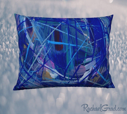 Pillowcase 26 x 20 Blue Abstract Art by Toronto Artist Rachael Grad front