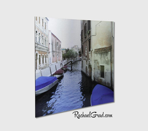 Blue Boats Venice Italy Art Print on Metal by Toronto Artist Rachael Grad