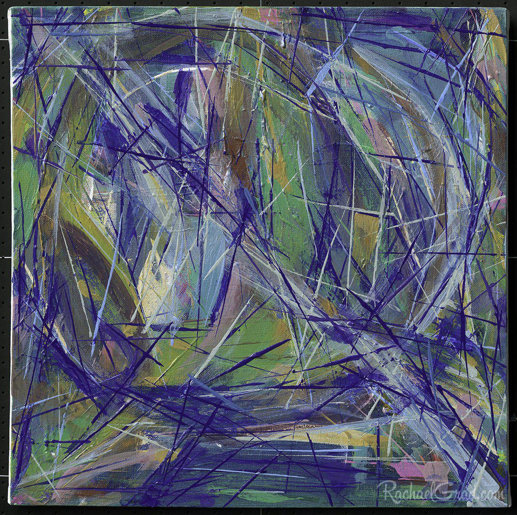 Blue Green Abstract Marks Painting by Toronto Artist Rachael Grad
