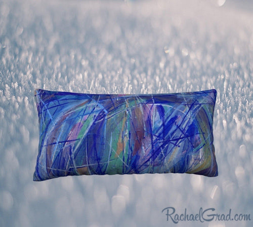 Pillowcase Blue Green 24 x 12 Pillow by Toronto Artist Rachael Grad front