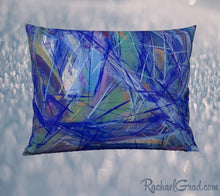 Load image into Gallery viewer, Pillowcase 26 x 20 with Blue Green Abstract Art by Artist Rachael Grad front