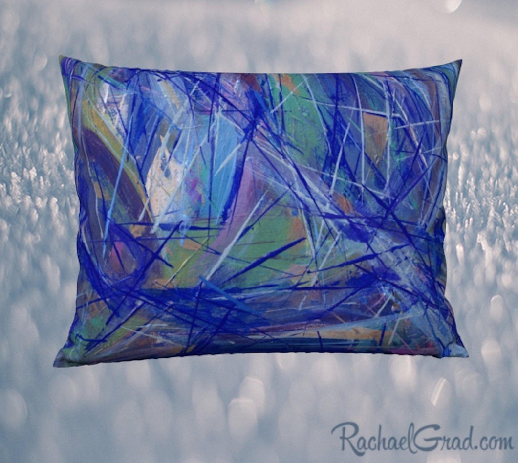 Pillowcase 26 x 20 with Blue Green Abstract Art by Artist Rachael Grad front