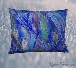 Pillowcase 26 x 20 with Blue Green Abstract Art by Artist Rachael Grad back