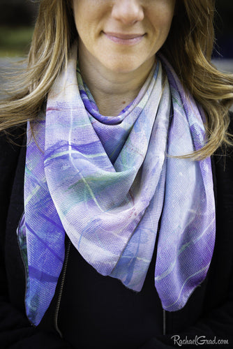 Blue Purple Art Scarf by Artist Rachael Grad on model