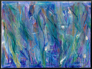 Blue Abstract Grass & Flowers Painting-Original Art-Canadian Artist Rachael Grad