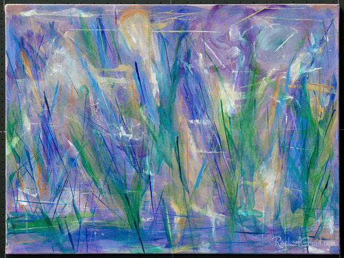 Purple Blue Abstract Grass & Flowers Painting-Original Art-Canadian Artist Rachael Grad