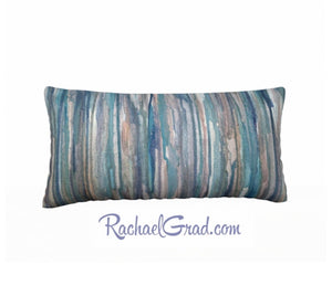 Pillowcase Blue Grey Stripes Pillows by Toronto Artist Rachael Grad front