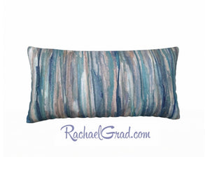 Pillowcase Blue Grey Stripes Pillows by Toronto Artist Rachael Grad back