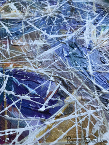 Blue White Abstract Marks Painting Artwork Detail Closeup by Artist Rachael Grad
