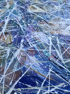 Blue White Abstract Marks Painting Texture Detail Closeup by Artist Rachael Grad
