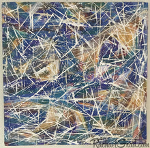 Load image into Gallery viewer, Blue White Abstract Marks Painting by Toronto Artist Rachael Grad