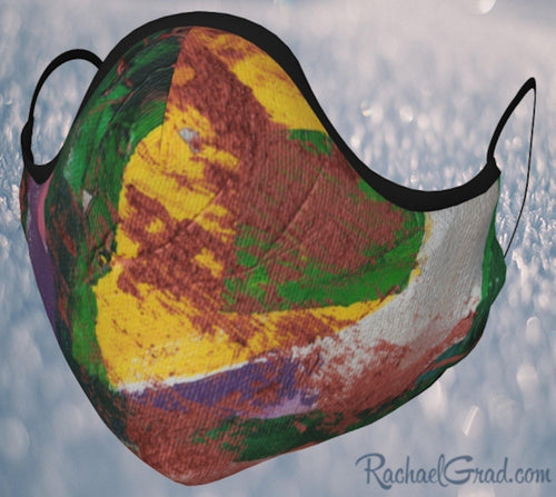 Made in Canada Face Masks with Yellow and Green Abstract Art