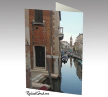 Load image into Gallery viewer, Canal reds venice italy card note-Stationery Card- back Canadian Artist Rachael Grad