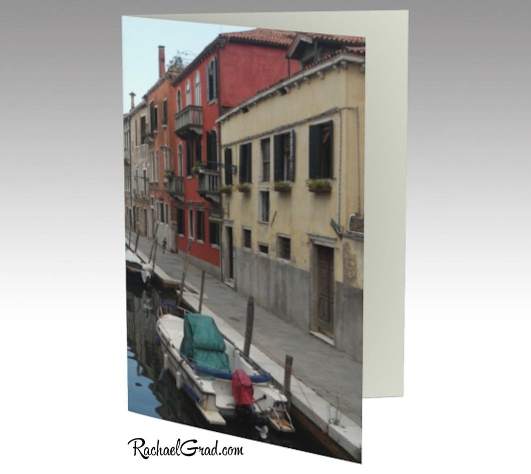 Canal reds venice italy card note-Stationery Card- front Canadian Artist Rachael Grad
