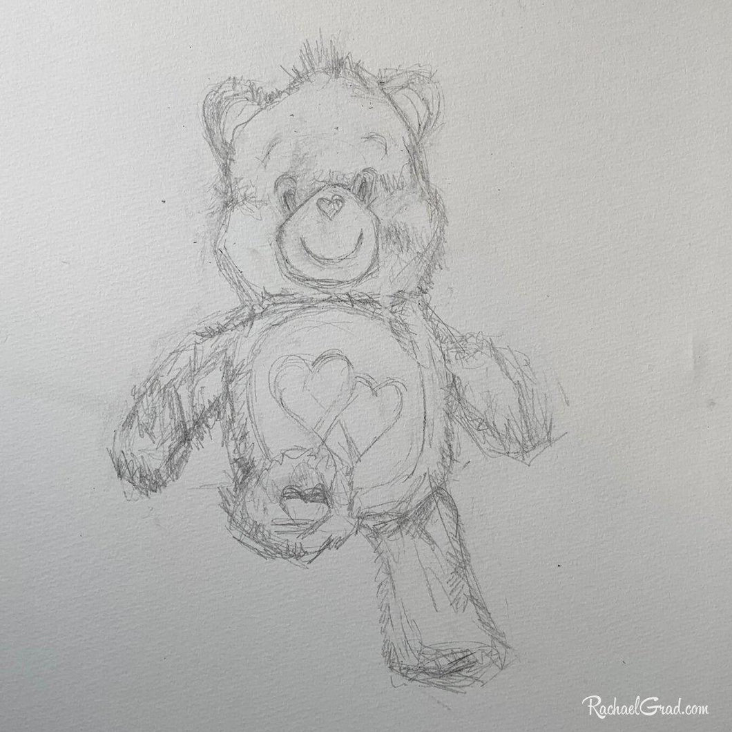 Care Bear Drawing by Canadian Artist Rachael Grad