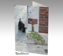 Load image into Gallery viewer, Cat and Dog Venice Italy Stationery Note Card Set by Toronto Artist Rachael Grad back