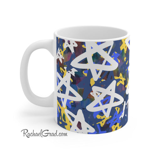 Stars Art Mug by Toronto Artist Rachael Grad side view