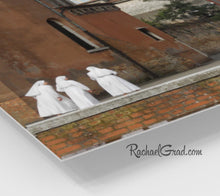 Load image into Gallery viewer, Christian Nuns Italian Photography Gifts, Group of Nuns Holiday Gift Art, Fine Art 3 Nuns Venice Italy Art Print, Catholic Sisters Wall Art by Artist Rachael Grad, corner closeup
