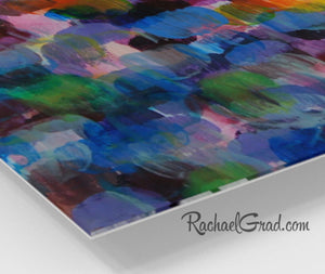 Colorful Abstract Art | Blue Purple Artwork | Colourful Square Art Prints | High Shine Artwork for Home or Office Decor Colourful Art Prints corner closeup by Artist Rachael Grad