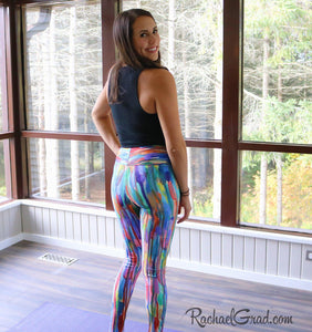 Striped Rainbow Yoga Leggings by Toronto Artist Rachael Grad, back view