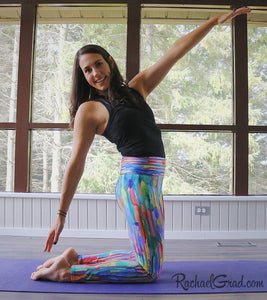 Colorful Pants, Striped Art Leggings by Artist Rachael Grad