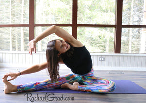 Rainbow Yoga Leggings with Stripes by Toronto Artist Rachael Grad