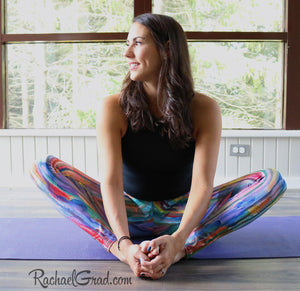 Striped Rainbow Yoga Leggings by Toronto Artist Rachael Grad in yoga studio