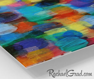 Colorful Abstract Art | Multicolor Artwork | Colourful Square Art Prints | High Shine Artwork for Home or Office Decor Colourful Art Prints corner closeup Rachael Grad